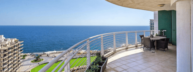 The sea views from the large front terrace of this apartment